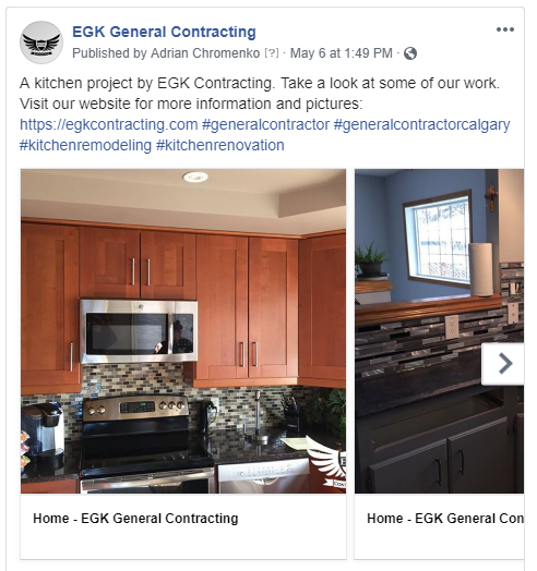 Facebook post for EGK contracting